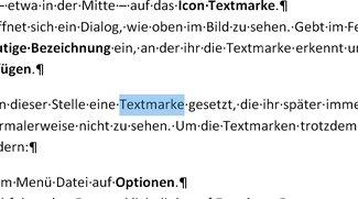 Word: Textmarke einfügen, verlinken und löschen