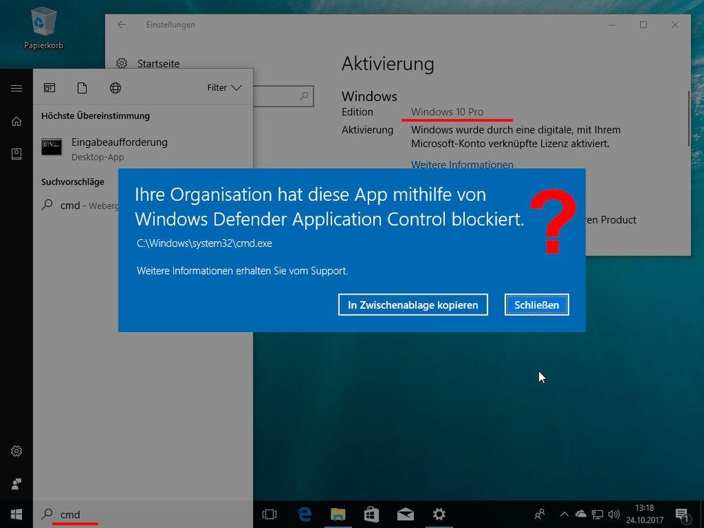 Windows 10 Pro verhält sich wie Windows 10 S und kann keine Eingabeaufforderung öffnen