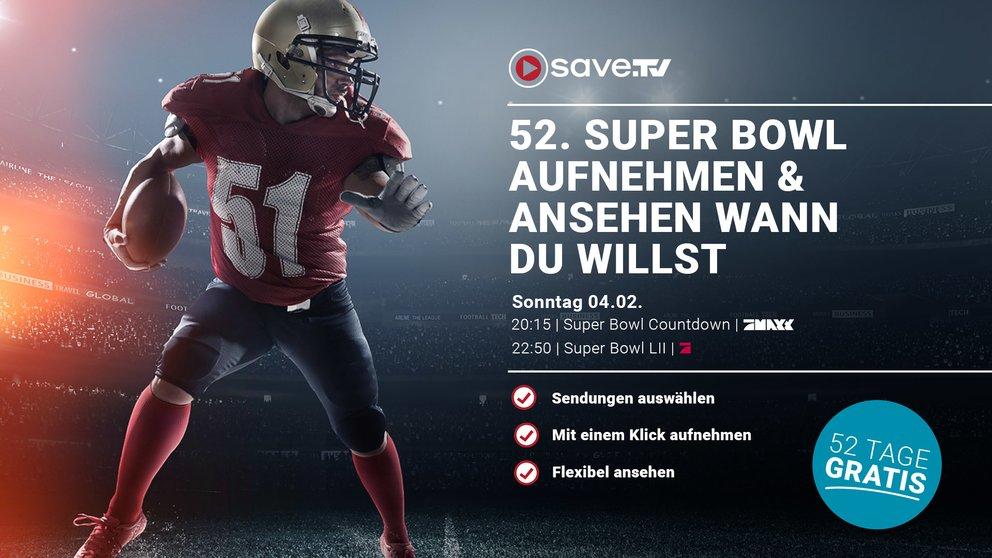 Exklusiv: Save.TV 52 Tage lang gratis testen – Super Bowl online aufnehmen und später ansehen