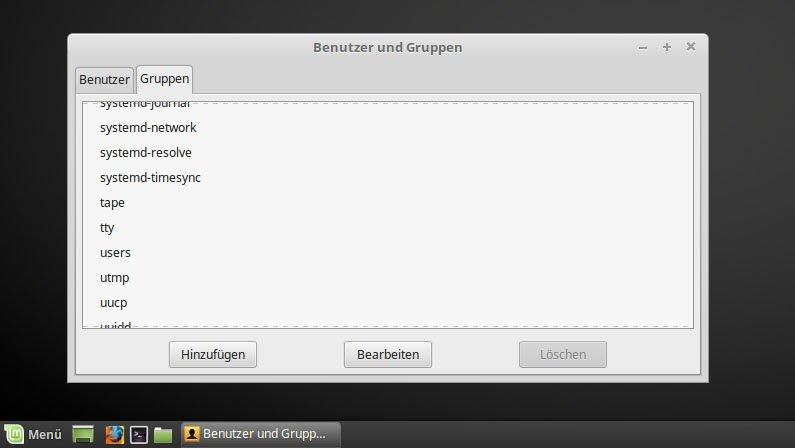 In Linux Mint gibt es eine GUI für Benutzer und Gruppen