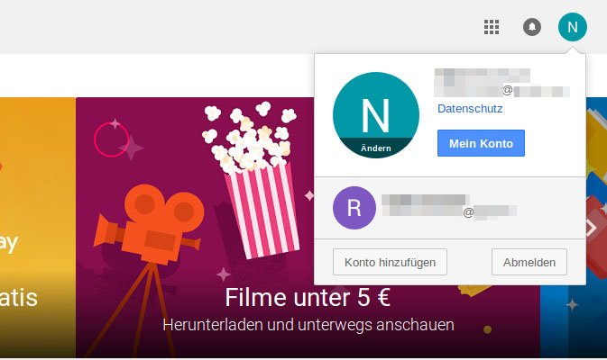 Hier ändert ihr das Google-Konto auf der Play-Store-Webseite