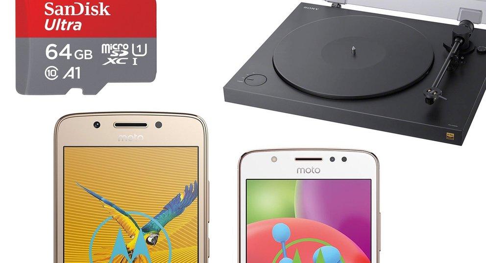 Amazon-Angebote: Speicherkarten, Plattenspieler, Moto E4 und G5