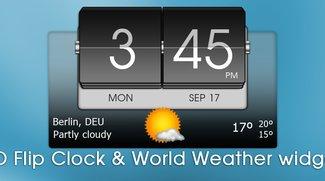 Schickes Uhrenwidget gratis: 3D Flip Clock &amp&#x3B; Weather Widget