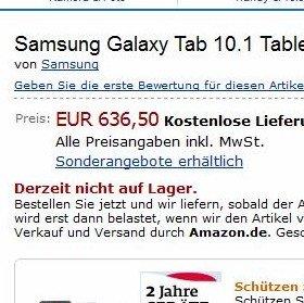 Samsung Galaxy Tab 10.1 bei Amazon, Zubehör bei Samsung vorbestellbar