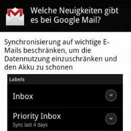 Google Mail für Android: Update auf 2.3.5 bringt neue Features