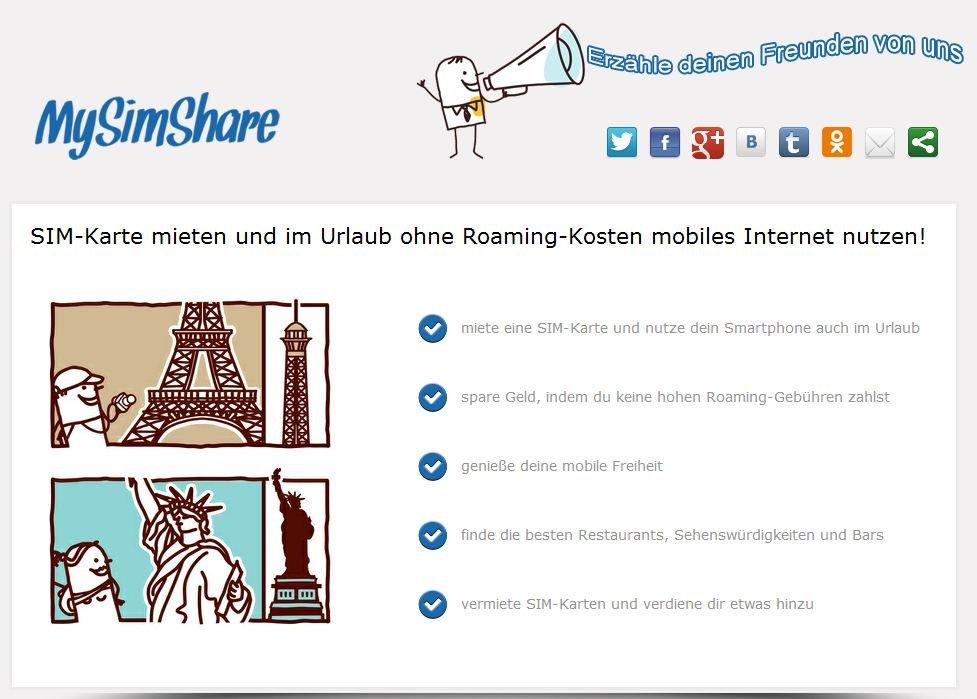 MySimShare: Service zum Verleih von SIM-Karten kurz vor dem Start