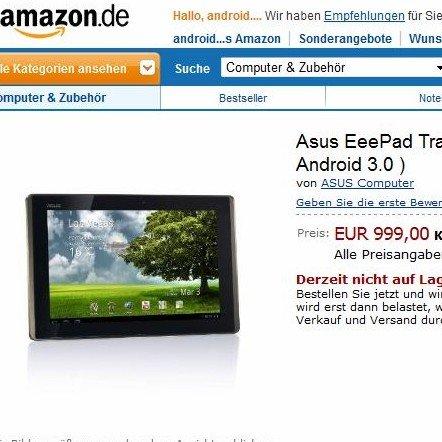 Asus Eee Pad Transformer bei Amazon.de gelistet [UPDATE: Billiger]