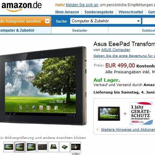 Asus Eee Pad Transformer ist da: 32GB-Version für 499 Euro [Update #2: Und wieder da ...]