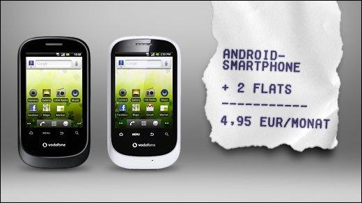 Android-Einsteigerpaket - Vodafone 858 Smart inkl. Daten- und Telefon-Flat nur 4,95 Euro im Monat