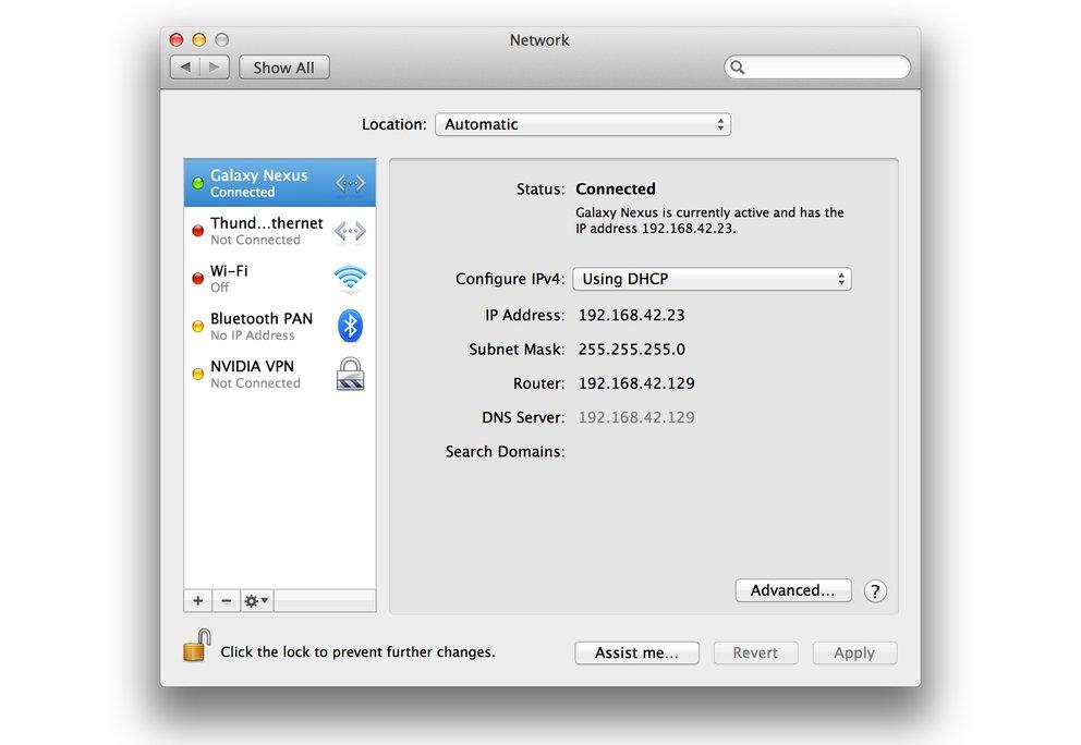HoRNDIS: USB-Tethering von Android-Geräten unter Mac OS X