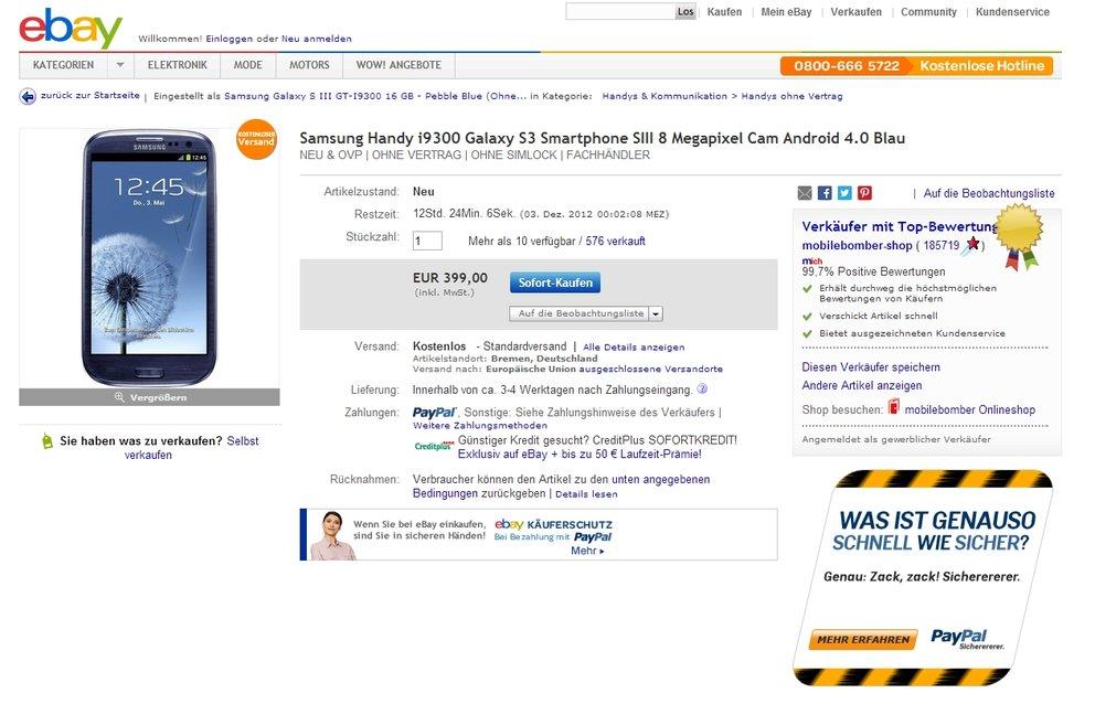 Samsung Galaxy S3: In Blau für 399 Euro, in Grau für 419 Euro [Deal]