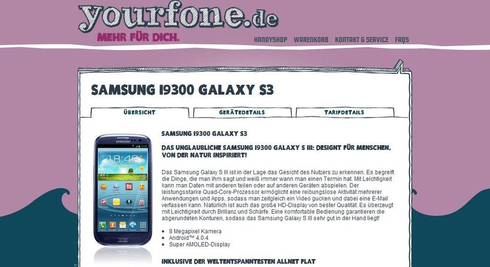 Samsung Galaxy S3: Ratenkauf über yourfone.de [Deal]