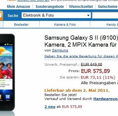 Samsung Galaxy S II ab 2. Mai bei Amazon [Update: Auch bei notebooksbilliger]