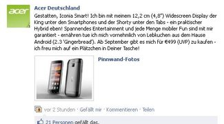 Acer Iconia Smart mit 4,8 Zoll Display und Android 2.3 ab September um 499€
