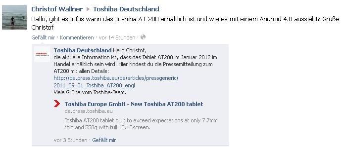 Toshiba AT200 voraussichtlich erst ab Januar 2012 erhältlich