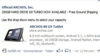 Archos 80 G9 Turbo mit 250GB in den USA und Canada erhältlich
