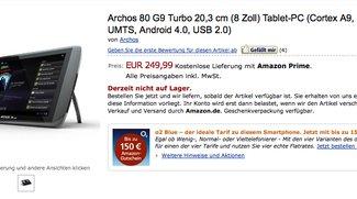 Archos 80 G9 Turbo ICS mit 1,5Ghz, 1Gb und Andoid 4.0 ab sofort bei Amazon für 249€ gelistet - Update: nun auf Lager