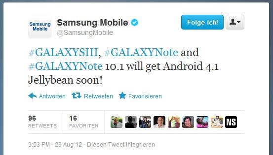 Samsung Galaxy Note und Note 10.1 sollen bald Android 4.1 erhalten
