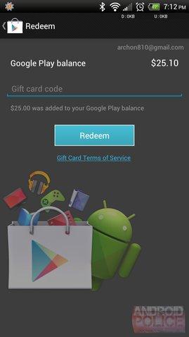 Google Play Geschenkkarten Screenshot