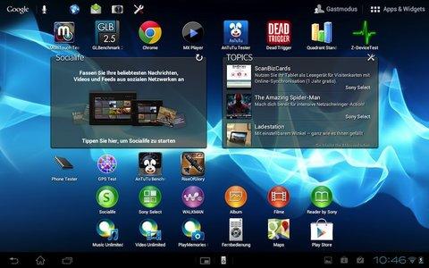 Sony-Xperia Tablet S Oberfläche