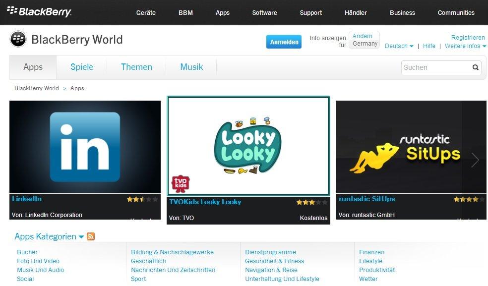 BlackBerry World: Neuer Web Store mit Spielen, Apps und Musik geht online