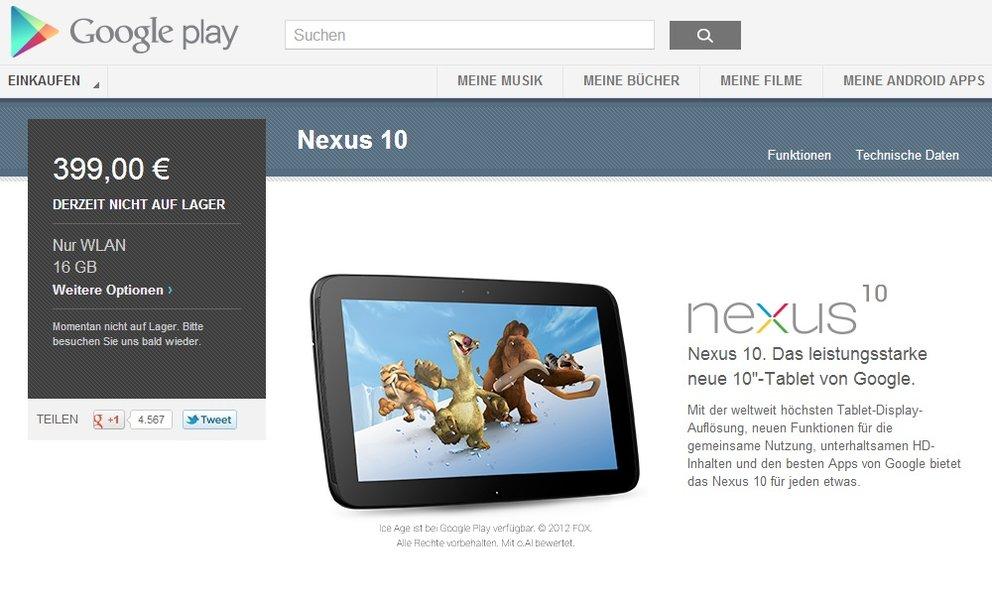Nexus 10 bald wieder verfügbar im Play Store?