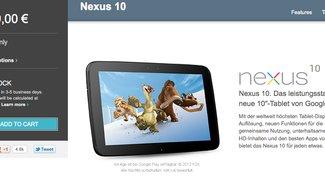 Google Nexus 10 in Deutschland im Play Store ab sofort wieder lieferbar