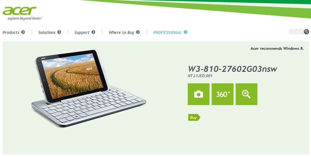 Acer Iconia W3 offiziell bestätigt - Microsoft Office inklusive