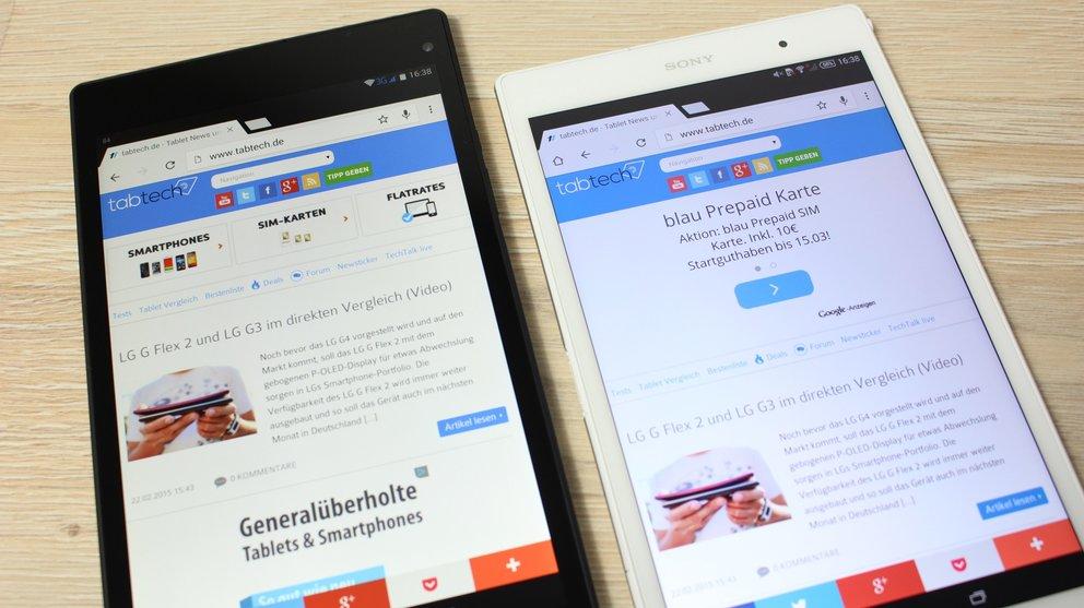 Medion Lifetab S8311 Test vs. Sony Xperia Z3