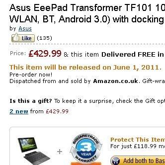 Asus Eee Pad Transformer verspätet sich: Verkaufsstart doch erst im Juni?