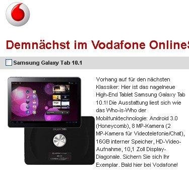 Samsung Galaxy Tab 10.1v ab sofort bei Vodafone bestellbar