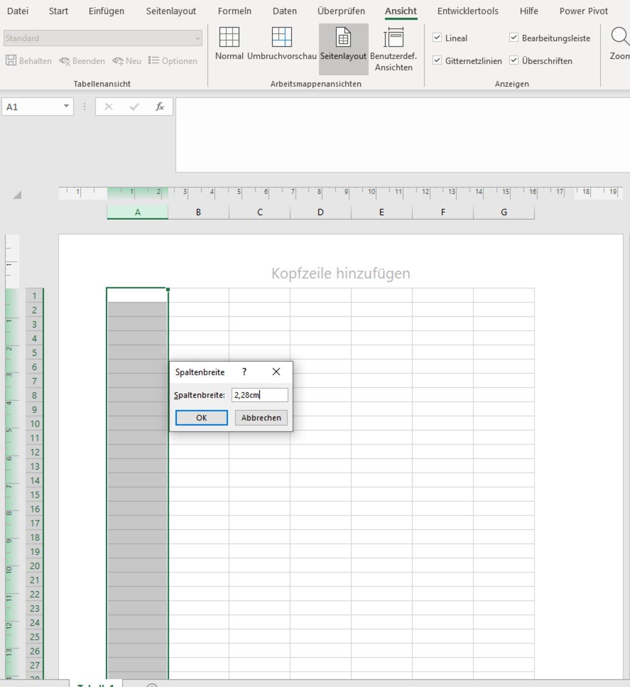 Excel Spaltenbreite In Cm
