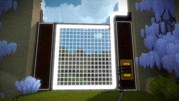 Dieses Tor gilt es zu öffnen. Jedoch ist das Schloss blockiert. Folgt den Kabeln und löst die entsprechenden Panel-Rätsel.