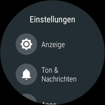 Einstellungsmenü von Android Wear 2.0