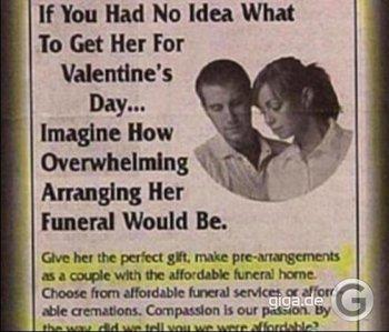 Wie romantisch, das gemeinsame Begräbnis am Valentinstag zu planen