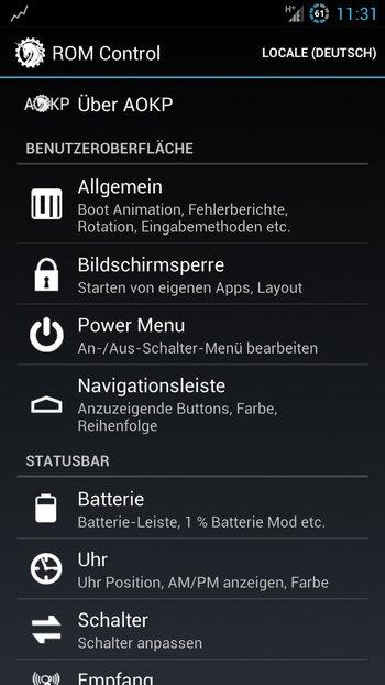 AOKP Jelly Bean Galaxy S3 Einstellungen