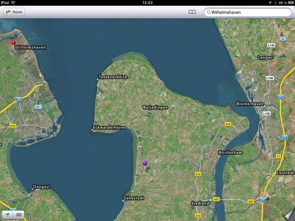 Hybrid-Ansicht von Apple Karten