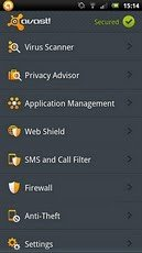 Avast Mobile Security fuer Android Hauptbildschirm