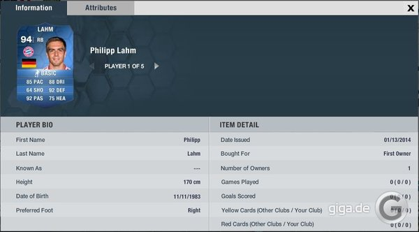 FIFA 14 TOTY: Philipp Lahm