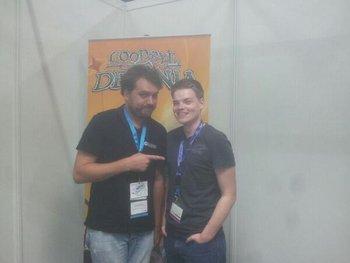 Wurde viel gelacht bei Goodbye Deponia. Danke an Jan für das sehr offene, ehrliche Interview :) #gamescom http://t.co/5aAlrPtcI5