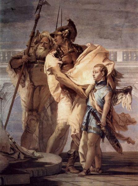 Aenaeas präsentiert Dido, Königin von Libyen und Erbauerin Karthagos, seinen Sohn Ascanius als Amor