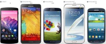 Nexus 5 vs. Samsung Galaxy Note 3 vs Samsung Galaxy S4 vs. Samsung Galaxy Note 2 vs. Samsung Galaxy S3
