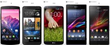 Nexus 5 vs. HTC One vs. LG G2 vs. Sony Xperia Z1 vs. Sony Xperia Z1