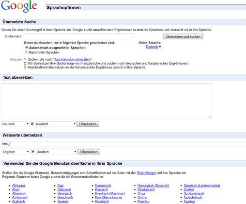 Googlesprachtools