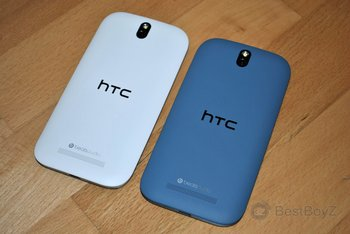HTC One SV in Glacier White und Pyrenees Blue