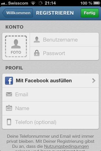 1. Instagramm registrieren