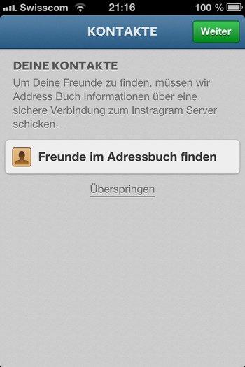 3. Instagramm registrieren