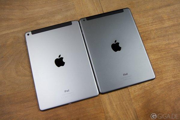 iPad Air 2 (links) - iPad Air 1 (rechts)