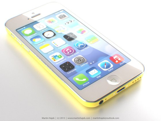 "iPhone ""Lite\"" in gelb - Rendering: Martin Hajek"
