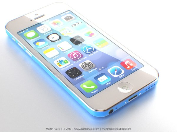 "iPhone \""Lite\"" in blau - Rendering: Martin Hajek"